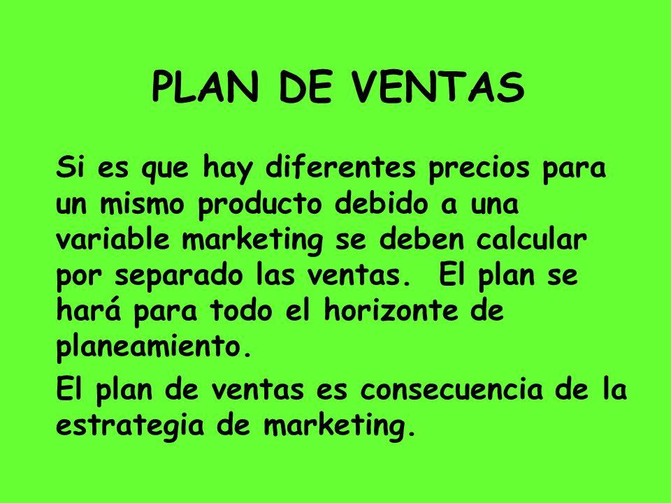 PLAN DE VENTAS Si es que hay diferentes precios para un mismo producto debido a una variable marketing se deben calcular por separado las ventas. El p