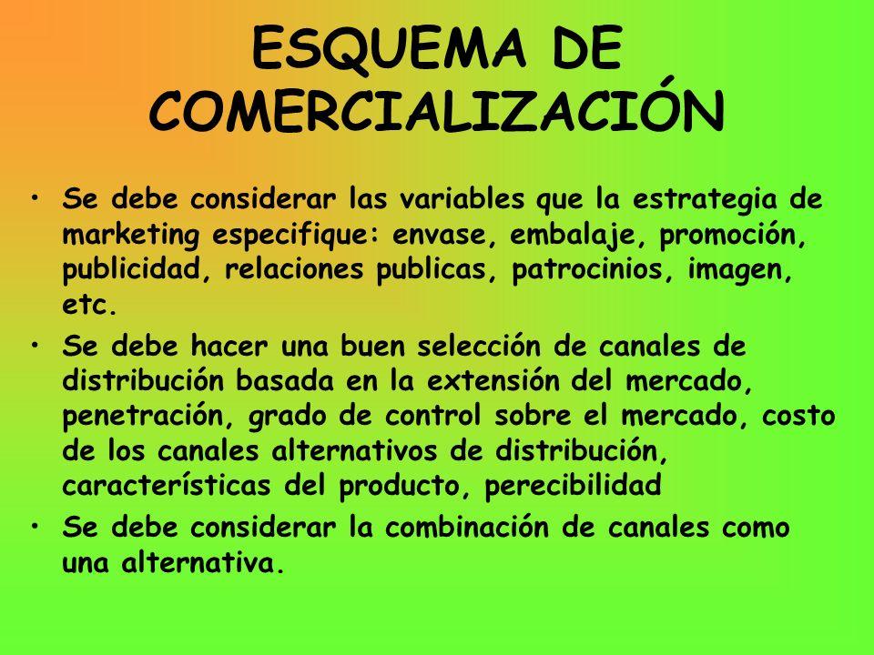 ESQUEMA DE COMERCIALIZACIÓN Se debe considerar las variables que la estrategia de marketing especifique: envase, embalaje, promoción, publicidad, rela
