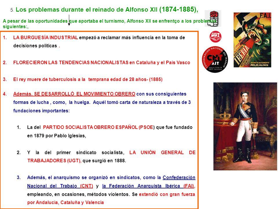 1.LA BURGUESÍA INDUSTRIAL empezó a reclamar más influencia en la toma de decisiones políticas. 2.FLORECIERON LAS TENDENCIAS NACIONALISTAS en Cataluña