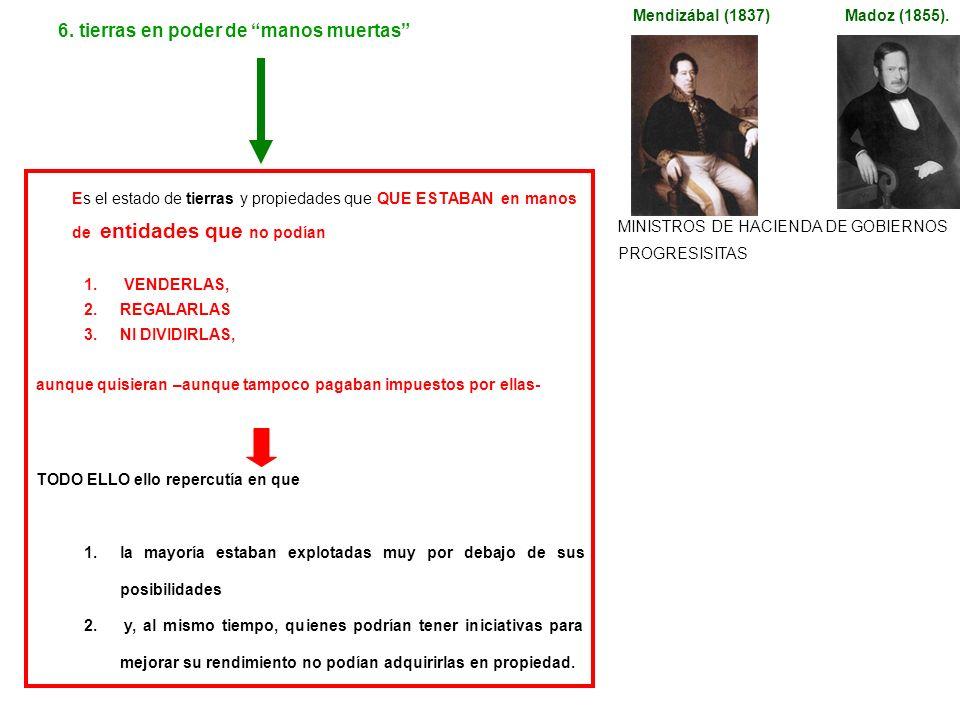 6. tierras en poder de manos muertas Madoz (1855).Mendizábal (1837) Es el estado de tierras y propiedades que QUE ESTABAN en manos de entidades que no
