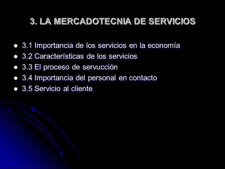 3. LA MERCADOTECNIA DE SERVICIOS 3.1 Importancia de los servicios en la economía 3.1 Importancia de los servicios en la economía 3.2 Características d