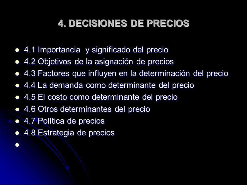 4. DECISIONES DE PRECIOS 4.1 Importancia y significado del precio 4.1 Importancia y significado del precio 4.2 Objetivos de la asignación de precios 4