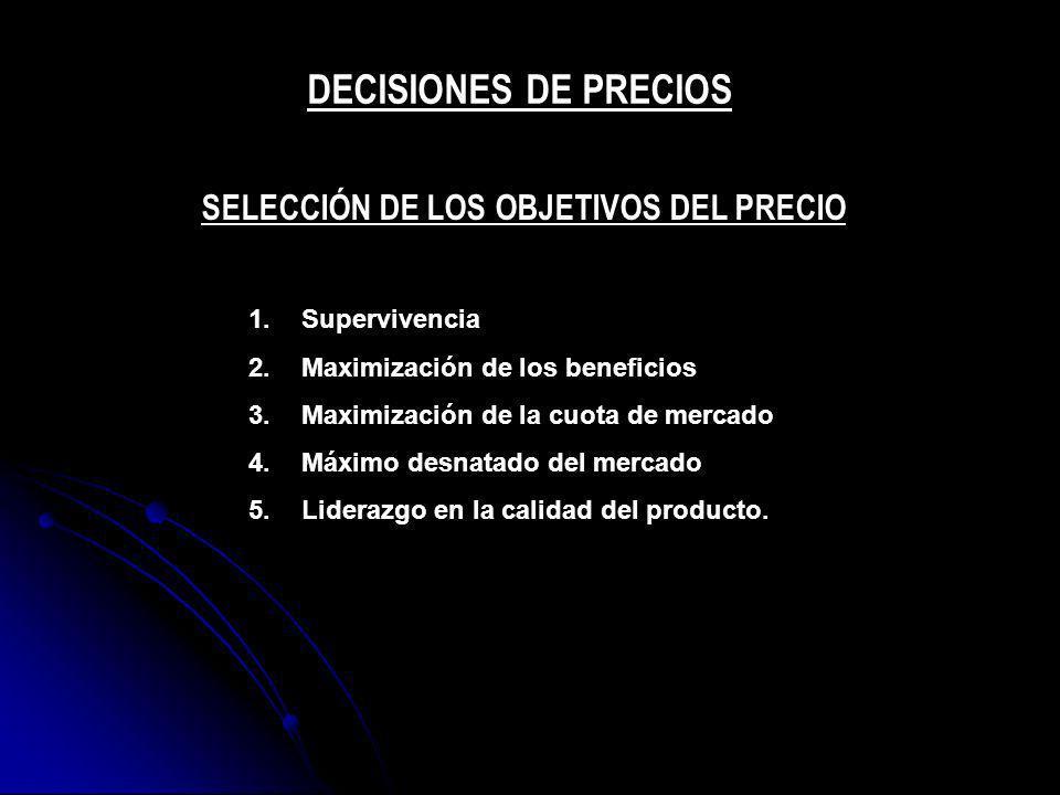 1.Supervivencia 2.Maximización de los beneficios 3.Maximización de la cuota de mercado 4.Máximo desnatado del mercado 5.Liderazgo en la calidad del pr