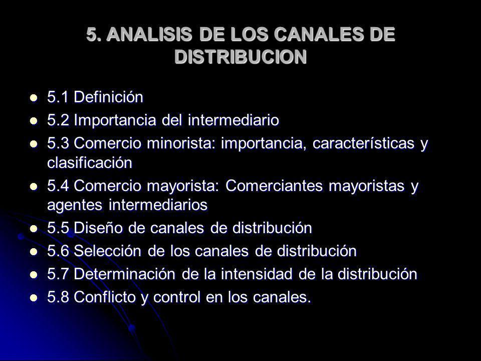 5. ANALISIS DE LOS CANALES DE DISTRIBUCION 5.1 Definición 5.1 Definición 5.2 Importancia del intermediario 5.2 Importancia del intermediario 5.3 Comer