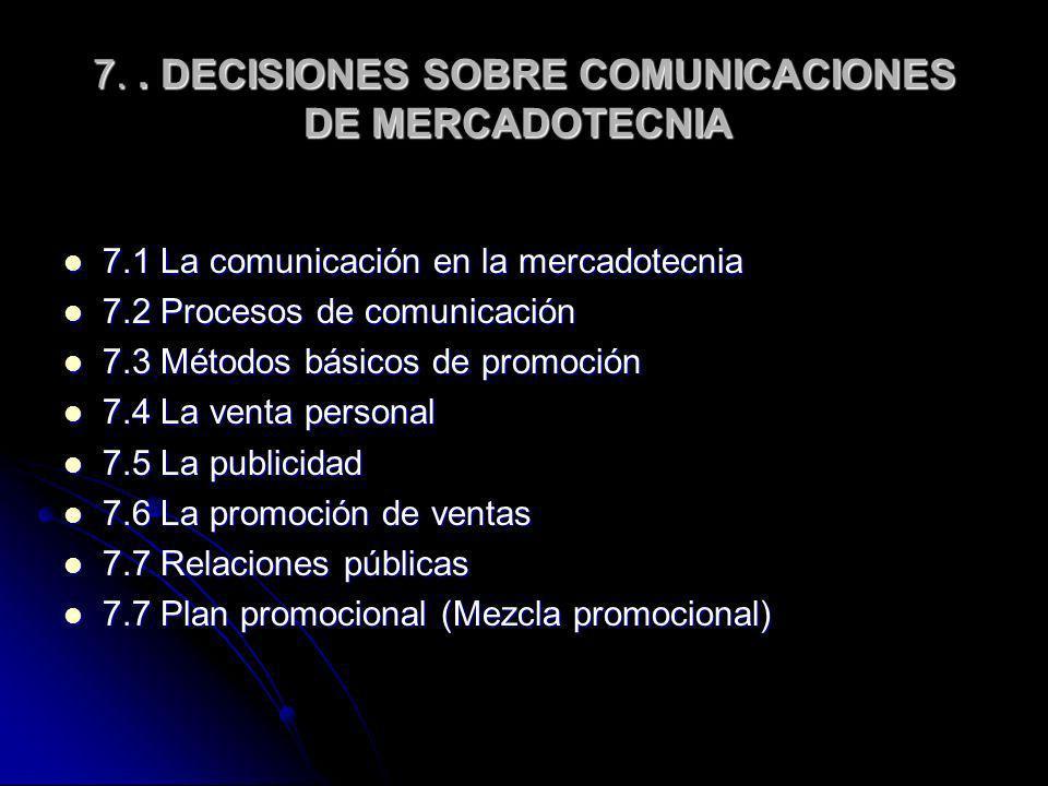 7.. DECISIONES SOBRE COMUNICACIONES DE MERCADOTECNIA 7.. DECISIONES SOBRE COMUNICACIONES DE MERCADOTECNIA 7.1 La comunicación en la mercadotecnia 7.1