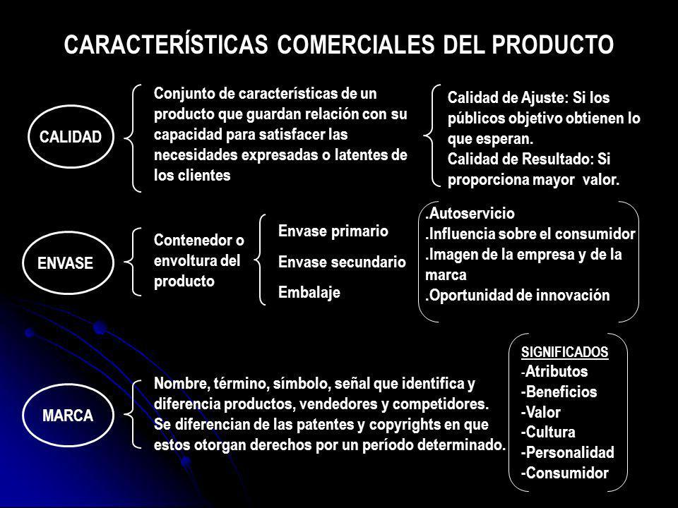 CALIDAD ENVASE MARCA Nombre, término, símbolo, señal que identifica y diferencia productos, vendedores y competidores. Se diferencian de las patentes