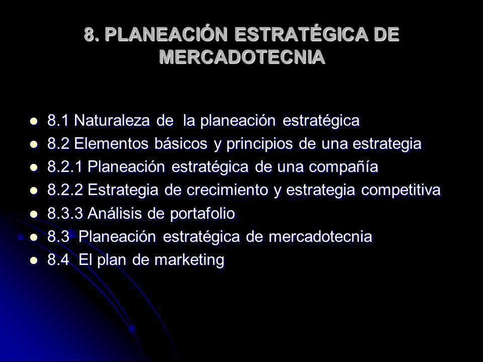 8. PLANEACIÓN ESTRATÉGICA DE MERCADOTECNIA 8.1 Naturaleza de la planeación estratégica 8.1 Naturaleza de la planeación estratégica 8.2 Elementos básic