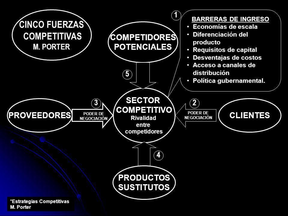 CINCO FUERZAS COMPETITIVAS M. PORTER SECTOR COMPETITIVO Rivalidad entre competidores COMPETIDORES POTENCIALES PROVEEDORES PODER DE NEGOCIACIÓN PODER D