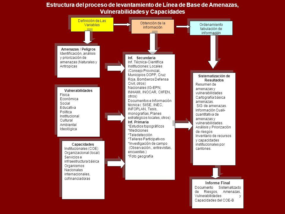 Definición de Las Variables Obtención de la información Ordenamiento tabulación de información Amenazas / Peligros Identificación, análisis y prioriza