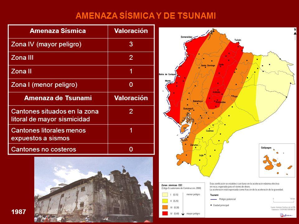 AMENAZA SÍSMICA Y DE TSUNAMI 1987 Amenaza SísmicaValoración Zona IV (mayor peligro)3 Zona III2 Zona II1 Zona I (menor peligro)0 Amenaza de TsunamiValo