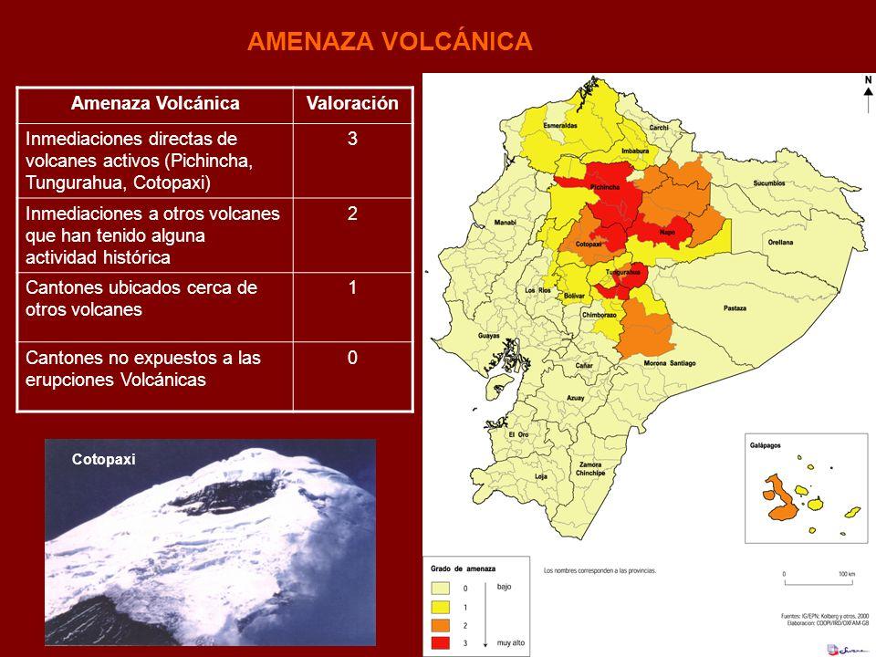 AMENAZA VOLCÁNICA Cotopaxi Amenaza VolcánicaValoración Inmediaciones directas de volcanes activos (Pichincha, Tungurahua, Cotopaxi) 3 Inmediaciones a