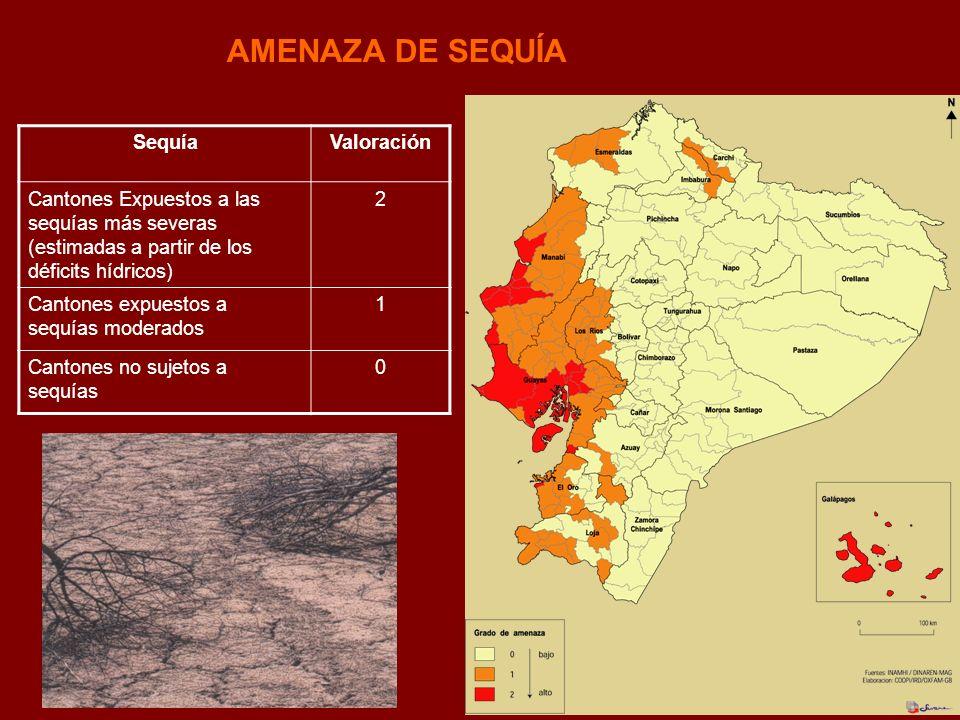 AMENAZA DE SEQUÍA SequíaValoración Cantones Expuestos a las sequías más severas (estimadas a partir de los déficits hídricos) 2 Cantones expuestos a s
