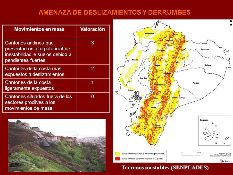 AMENAZA DE DESLIZAMIENTOS Y DERRUMBES Terrenos inestables (SENPLADES) Movimientos en masaValoración Cantones andinos que presentan un alto potencial d