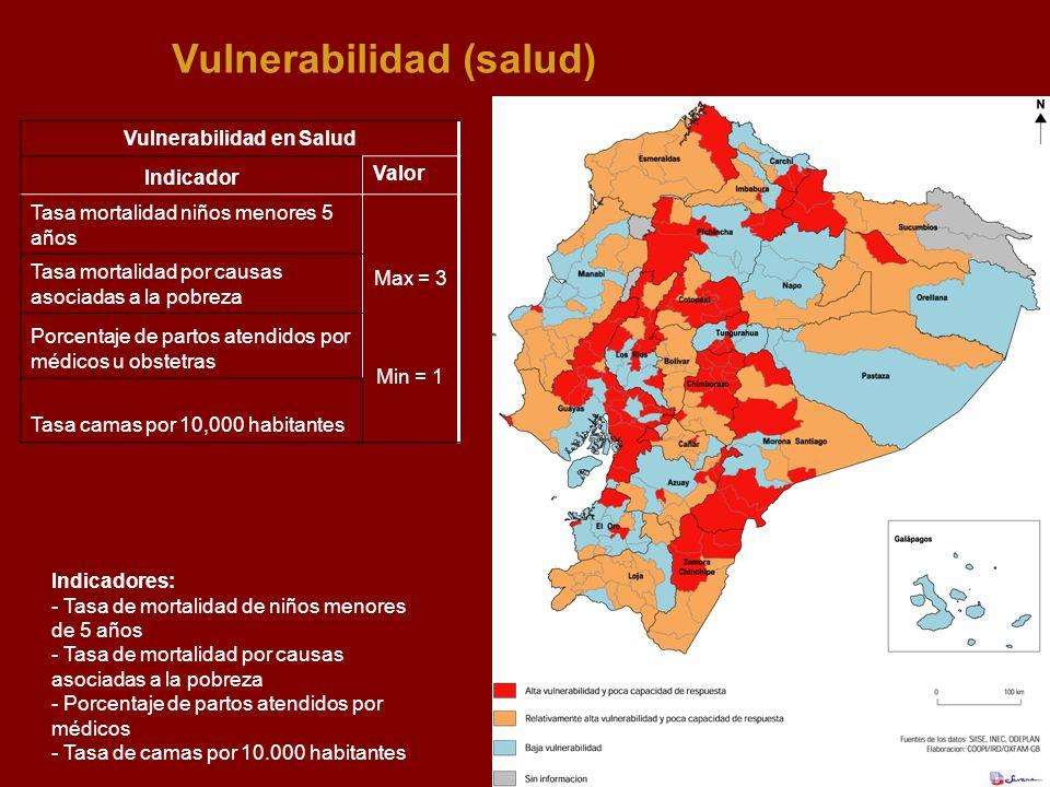 Vulnerabilidad (salud) Indicadores: - Tasa de mortalidad de niños menores de 5 años - Tasa de mortalidad por causas asociadas a la pobreza - Porcentaj