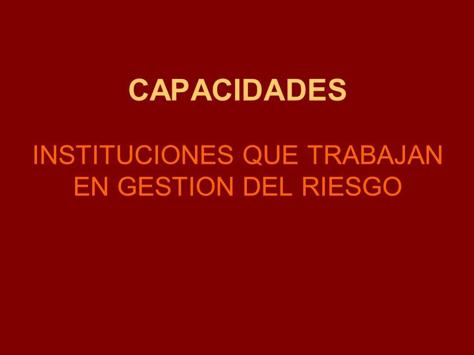 CAPACIDADES INSTITUCIONES QUE TRABAJAN EN GESTION DEL RIESGO