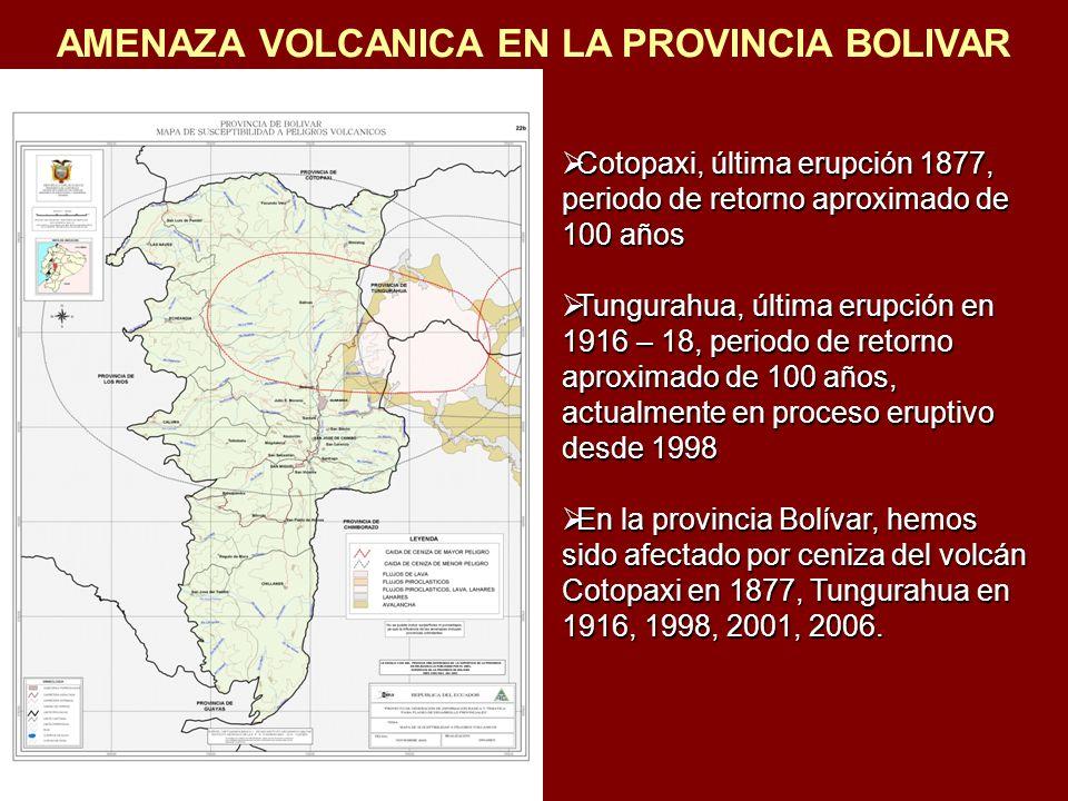 AMENAZA VOLCANICA EN LA PROVINCIA BOLIVAR Cotopaxi, última erupción 1877, periodo de retorno aproximado de 100 años Cotopaxi, última erupción 1877, pe