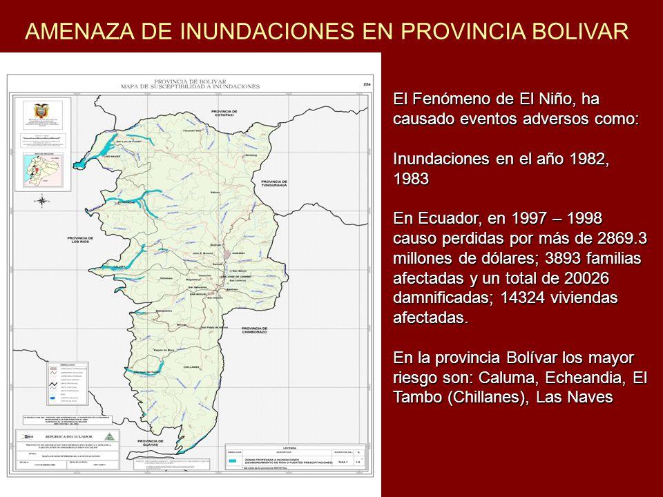 AMENAZA DE INUNDACIONES EN PROVINCIA BOLIVAR El Fenómeno de El Niño, ha causado eventos adversos como: Inundaciones en el año 1982, 1983 En Ecuador, e