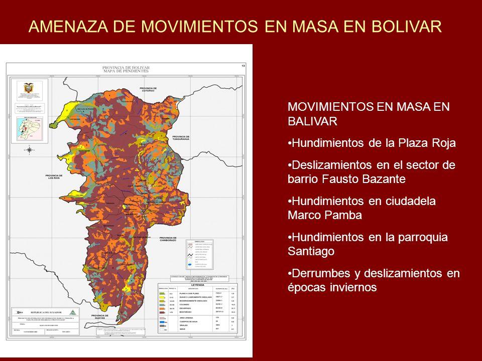 AMENAZA DE MOVIMIENTOS EN MASA EN BOLIVAR MOVIMIENTOS EN MASA EN BALIVAR Hundimientos de la Plaza Roja Deslizamientos en el sector de barrio Fausto Ba