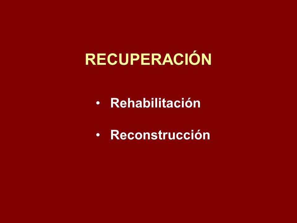 Rehabilitación Reconstrucción RECUPERACIÓN