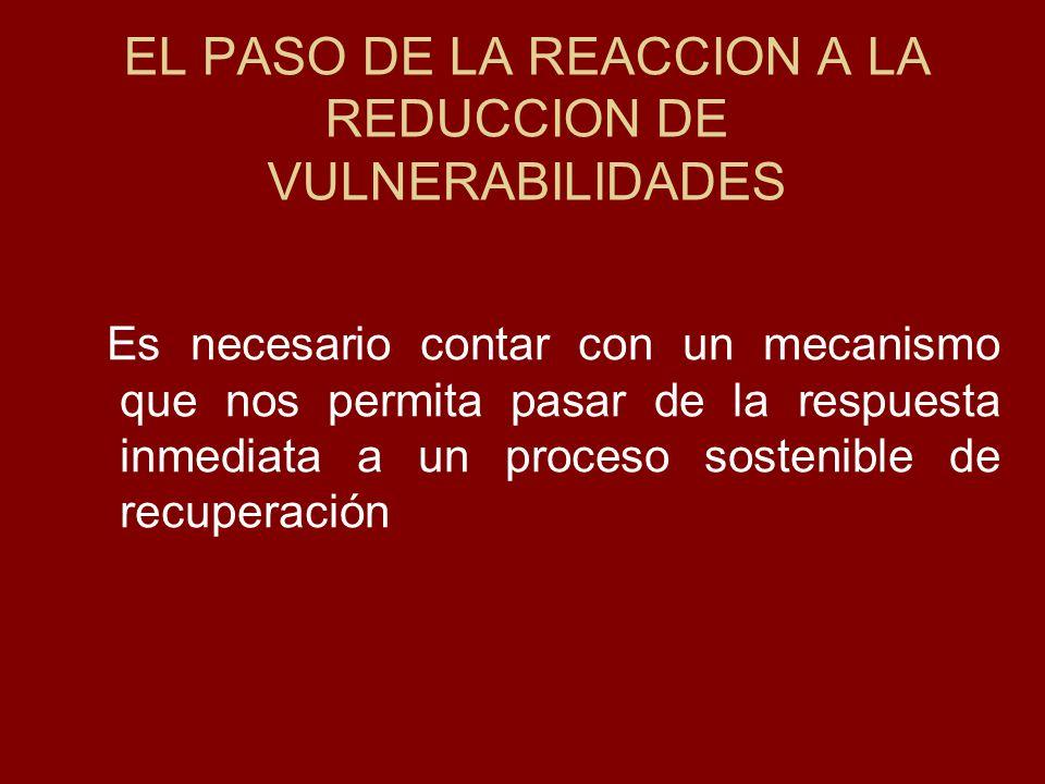EL PASO DE LA REACCION A LA REDUCCION DE VULNERABILIDADES Es necesario contar con un mecanismo que nos permita pasar de la respuesta inmediata a un pr