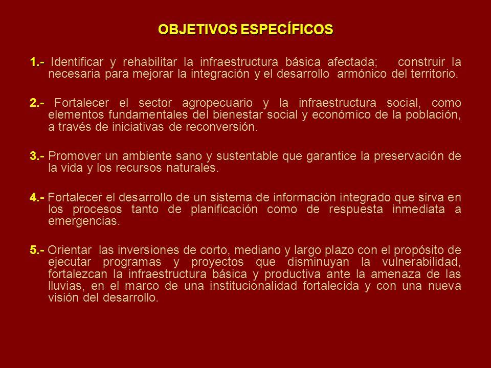 OBJETIVOS ESPECÍFICOS 1.- 1.- Identificar y rehabilitar la infraestructura básica afectada; construir la necesaria para mejorar la integración y el de