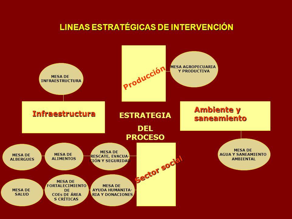 LINEAS ESTRATÉGICAS DE INTERVENCIÓN Infraestructura Producción Ambiente y saneamiento Ambiente y saneamiento Sector social ESTRATEGIA DEL PROCESO MESA