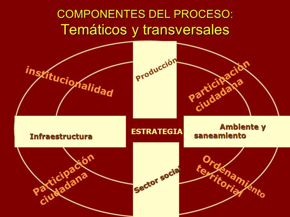 COMPONENTES DEL PROCESO: Temáticos y transversales Infraestructura Producción Ambiente y saneamiento Ambiente y saneamiento Sector social ESTRATEGIA O