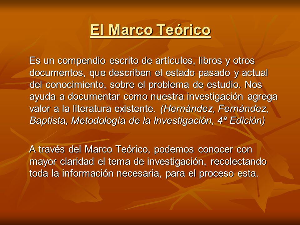 El Marco Teórico Es un compendio escrito de artículos, libros y otros documentos, que describen el estado pasado y actual del conocimiento, sobre el p