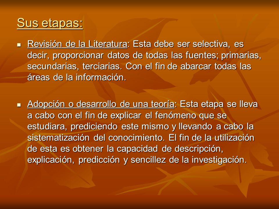 Sus etapas: Revisión de la Literatura: Esta debe ser selectiva, es decir, proporcionar datos de todas las fuentes; primarias, secundarias, terciarias.