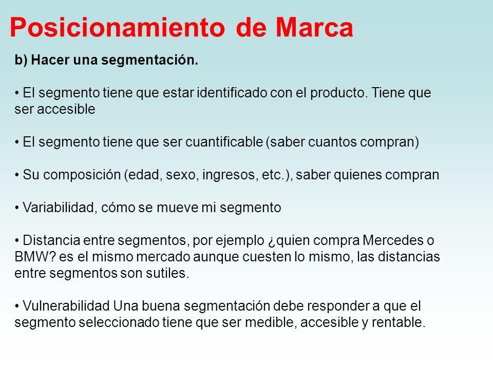 Posicionamiento de Marca b) Hacer una segmentación. El segmento tiene que estar identificado con el producto. Tiene que ser accesible El segmento tien