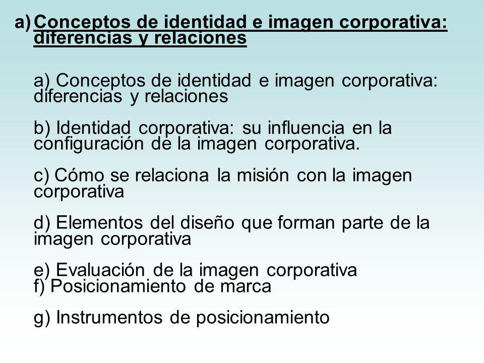 a)Conceptos de identidad e imagen corporativa: diferencias y relaciones a) Conceptos de identidad e imagen corporativa: diferencias y relaciones b) Id