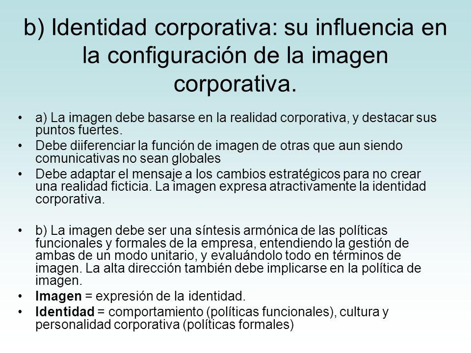b) Identidad corporativa: su influencia en la configuración de la imagen corporativa. a) La imagen debe basarse en la realidad corporativa, y destacar