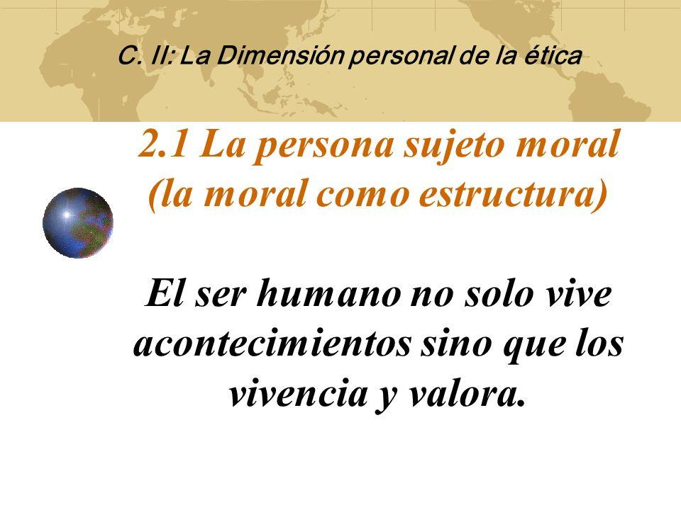 . Contenidos: 2.1 La persona sujeto moral 2.2 La dignidad humana y sus expresiones fundamentales que fundamentan el principio de Autonomía/ciudadanía.