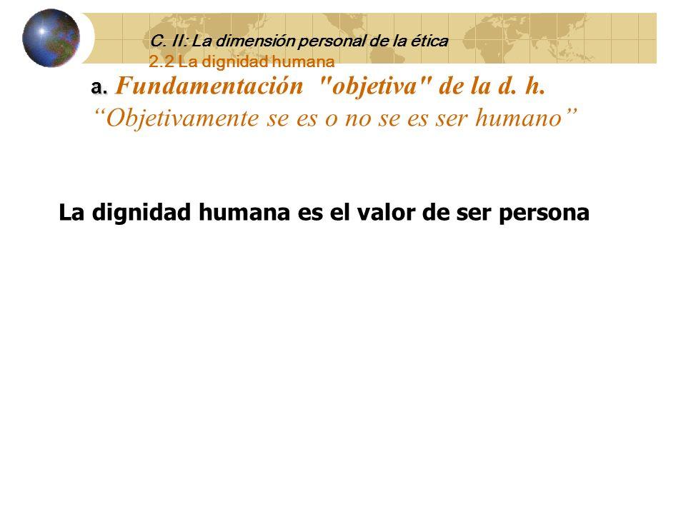 2.2 La dignidad humana La persona no tiene precio tiene dignidad. Kant. El hombre se cree más de lo que es y se valorar en menos de lo que vale. Goeth