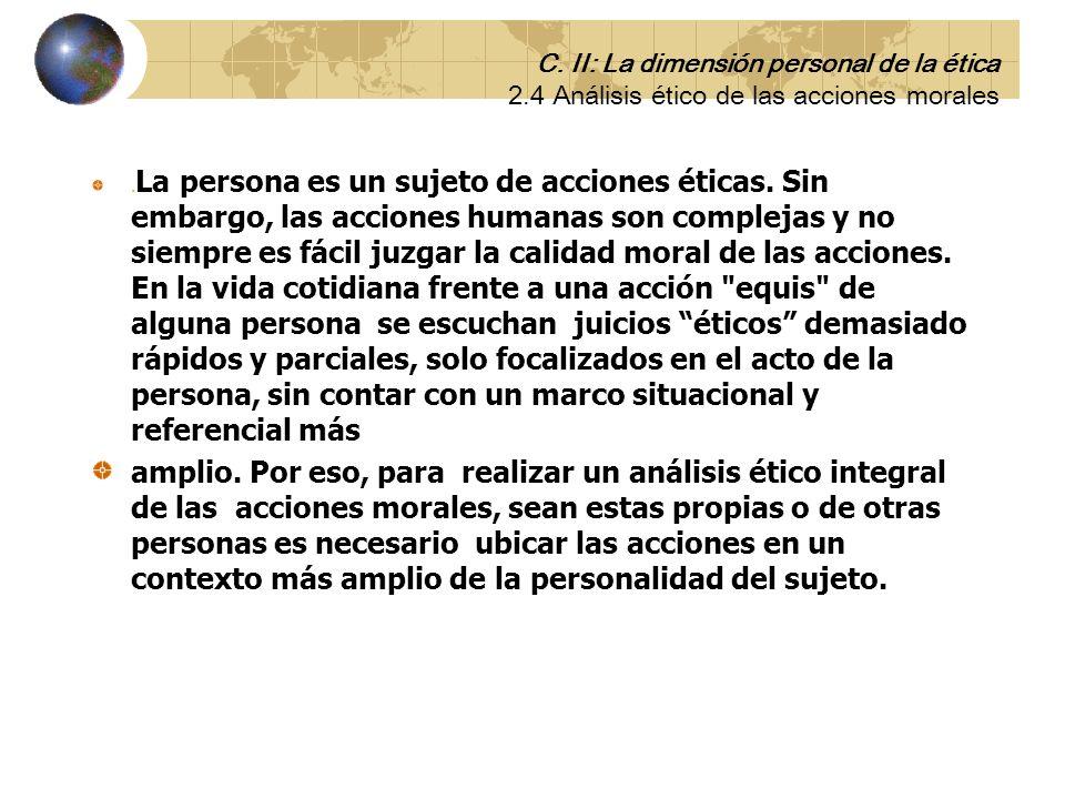 2.4 Análisis ético de las acciones morales de las personas. C. II: La dimensión personal de la ética