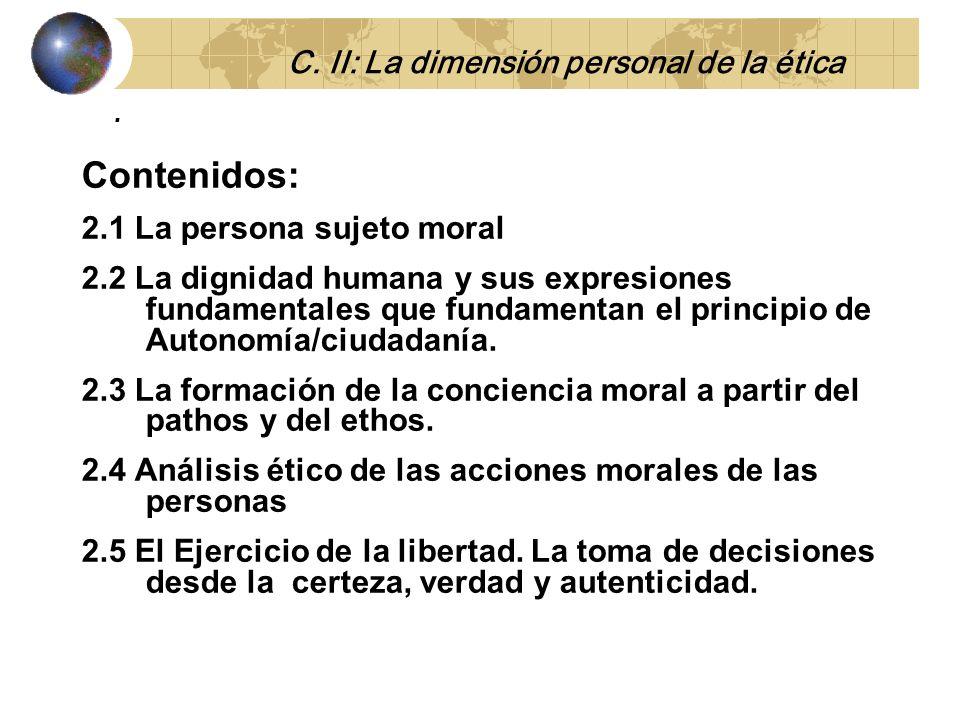 Contenidos: 2.1 La persona sujeto moral 2.2 La dignidad humana y sus expresiones fundamentales que fundamentan el principio de Autonomía/ciudadanía.