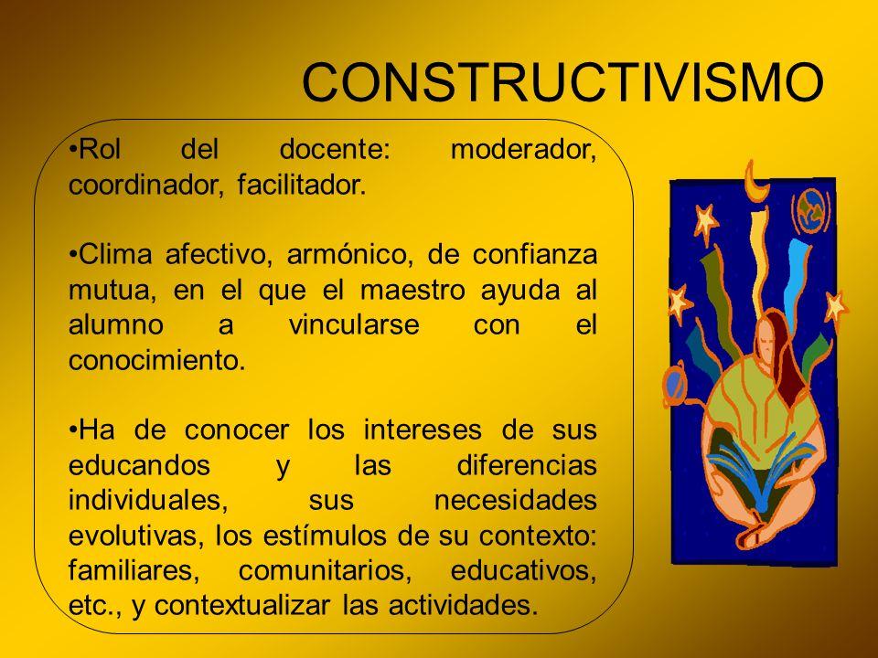 CONSTRUCTIVISMO Rol del docente: moderador, coordinador, facilitador. Clima afectivo, armónico, de confianza mutua, en el que el maestro ayuda al alum