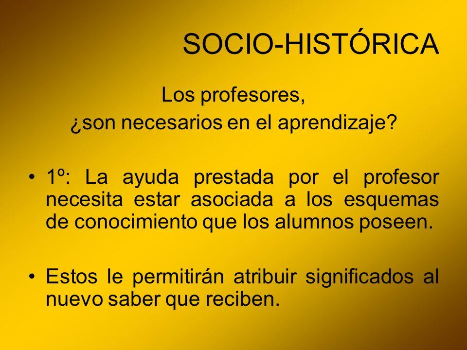 SOCIO-HISTÓRICA Los profesores, ¿son necesarios en el aprendizaje? 1º: La ayuda prestada por el profesor necesita estar asociada a los esquemas de con