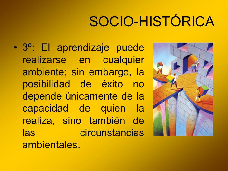 SOCIO-HISTÓRICA 3º: El aprendizaje puede realizarse en cualquier ambiente; sin embargo, la posibilidad de éxito no depende únicamente de la capacidad