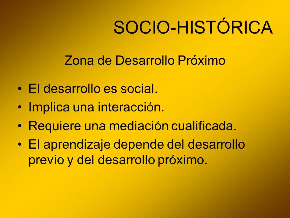 SOCIO-HISTÓRICA Zona de Desarrollo Próximo El desarrollo es social. Implica una interacción. Requiere una mediación cualificada. El aprendizaje depend