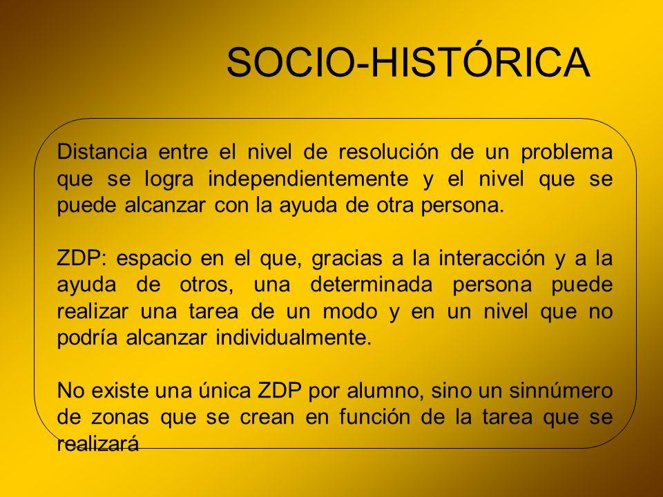 SOCIO-HISTÓRICA Distancia entre el nivel de resolución de un problema que se logra independientemente y el nivel que se puede alcanzar con la ayuda de
