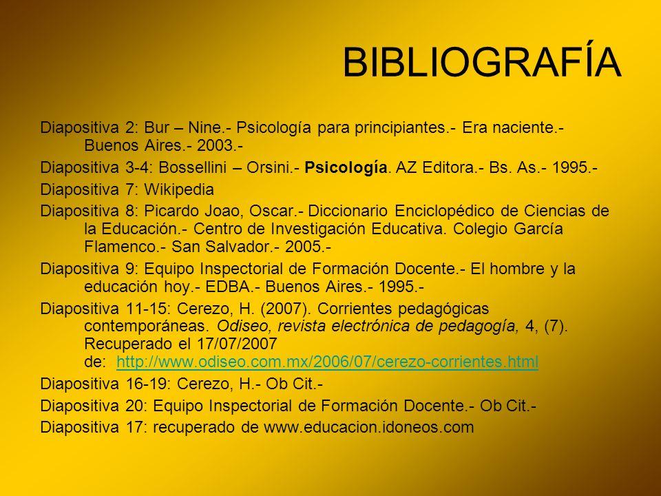 BIBLIOGRAFÍA Diapositiva 2: Bur – Nine.- Psicología para principiantes.- Era naciente.- Buenos Aires.- 2003.- Diapositiva 3-4: Bossellini – Orsini.- P