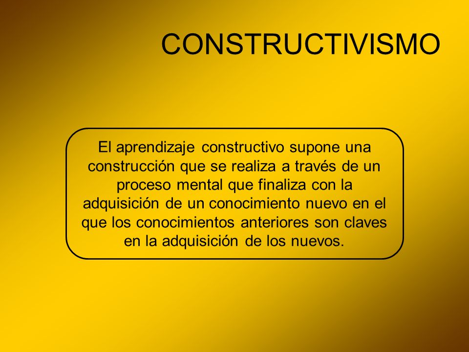CONSTRUCTIVISMO El aprendizaje constructivo supone una construcción que se realiza a través de un proceso mental que finaliza con la adquisición de un