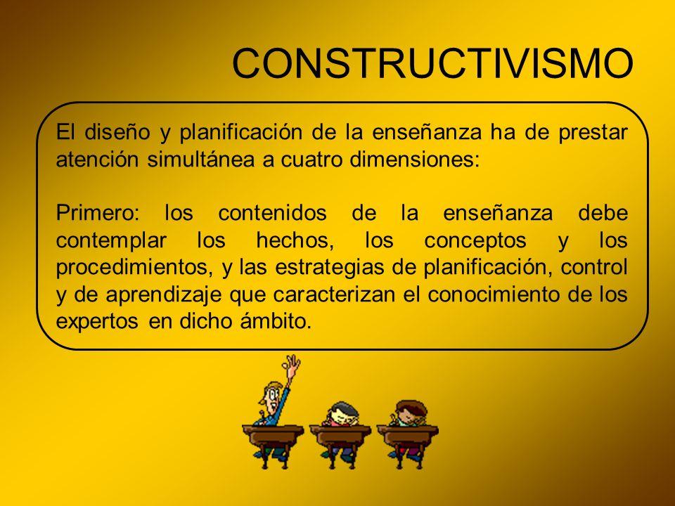 CONSTRUCTIVISMO El diseño y planificación de la enseñanza ha de prestar atención simultánea a cuatro dimensiones: Primero: los contenidos de la enseña
