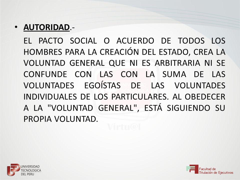 AUTORIDAD.- EL PACTO SOCIAL O ACUERDO DE TODOS LOS HOMBRES PARA LA CREACIÓN DEL ESTADO, CREA LA VOLUNTAD GENERAL QUE NI ES ARBITRARIA NI SE CONFUNDE C