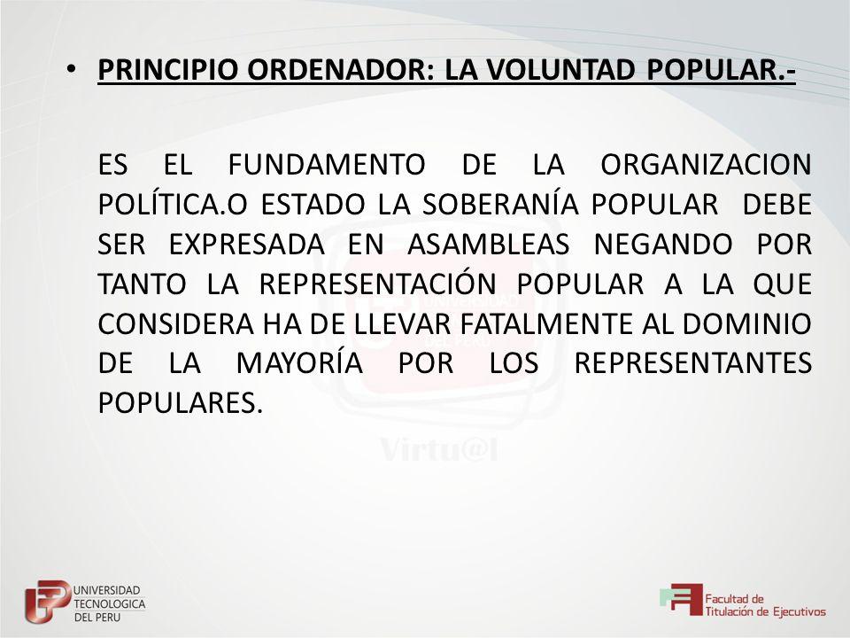 PRINCIPIO ORDENADOR: LA VOLUNTAD POPULAR.- ES EL FUNDAMENTO DE LA ORGANIZACION POLÍTICA.O ESTADO LA SOBERANÍA POPULAR DEBE SER EXPRESADA EN ASAMBLEAS