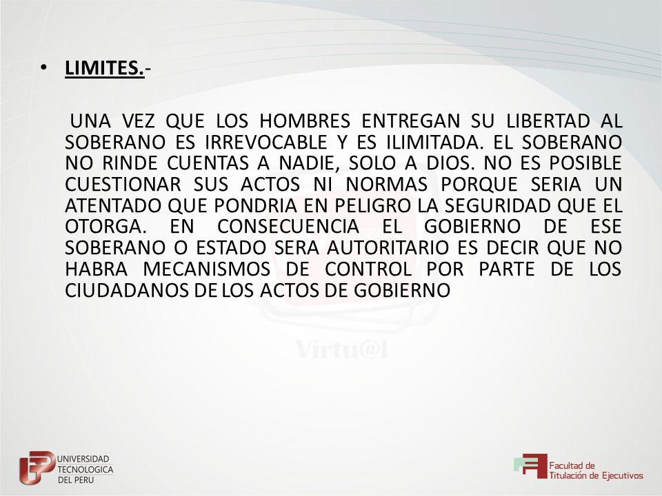 LIMITES.- UNA VEZ QUE LOS HOMBRES ENTREGAN SU LIBERTAD AL SOBERANO ES IRREVOCABLE Y ES ILIMITADA. EL SOBERANO NO RINDE CUENTAS A NADIE, SOLO A DIOS. N