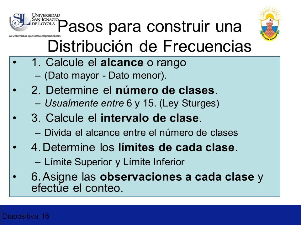 Diapositiva 16 Pasos para construir una Distribución de Frecuencias 1. Calcule el alcance o rango –(Dato mayor - Dato menor). 2. Determine el número d