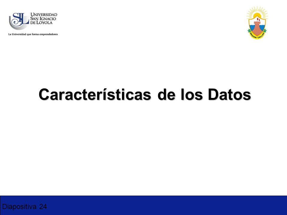 Diapositiva 24 Características de los Datos 1-2