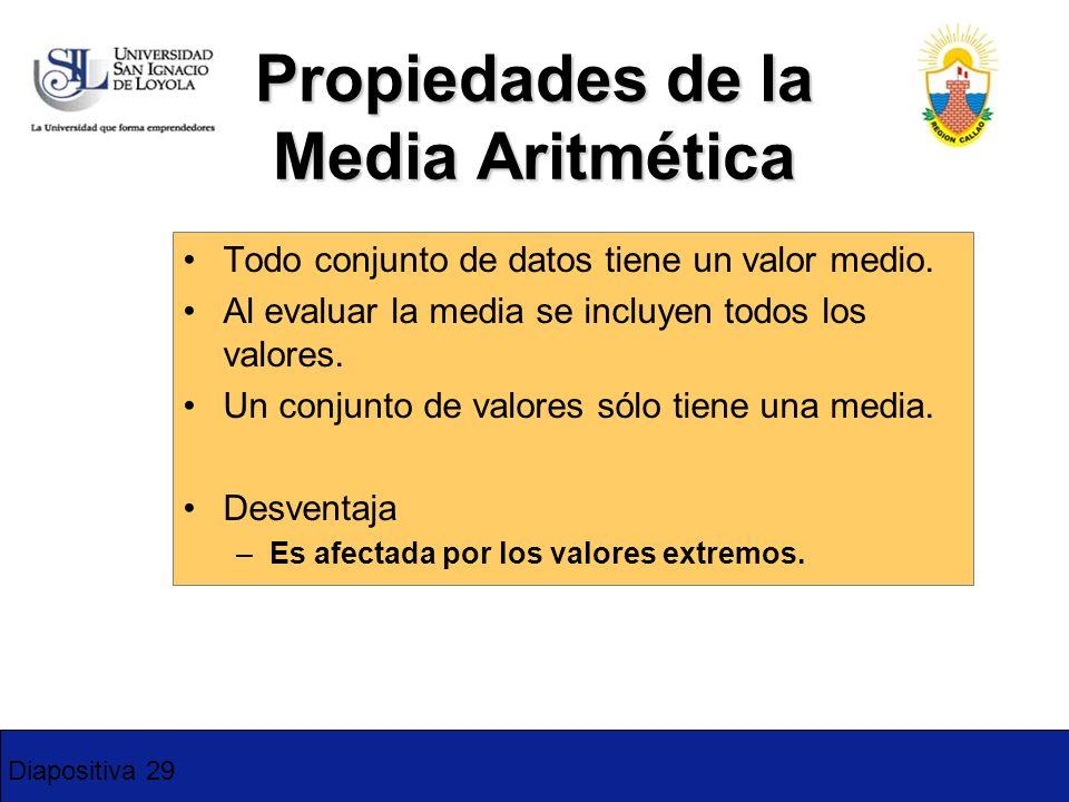 Diapositiva 29 Propiedades de la Media Aritmética Todo conjunto de datos tiene un valor medio. Al evaluar la media se incluyen todos los valores. Un c